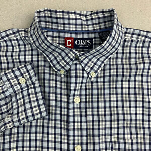 Chaps-Button-Up-Shirt-Mens-XL-Blue-Check-Long-Sleeve-Casual