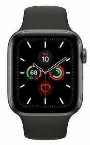 Apple Watch Series 5 44mm Space Grau Aluminiumgehäuse mit Schwarz Sportarmband - S/M und M/L (GPS) (MWVF2FD/A)