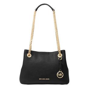 Michael Kors Jet Set Chain Medium Messenger Bag Black Gold 38f7go1m2l