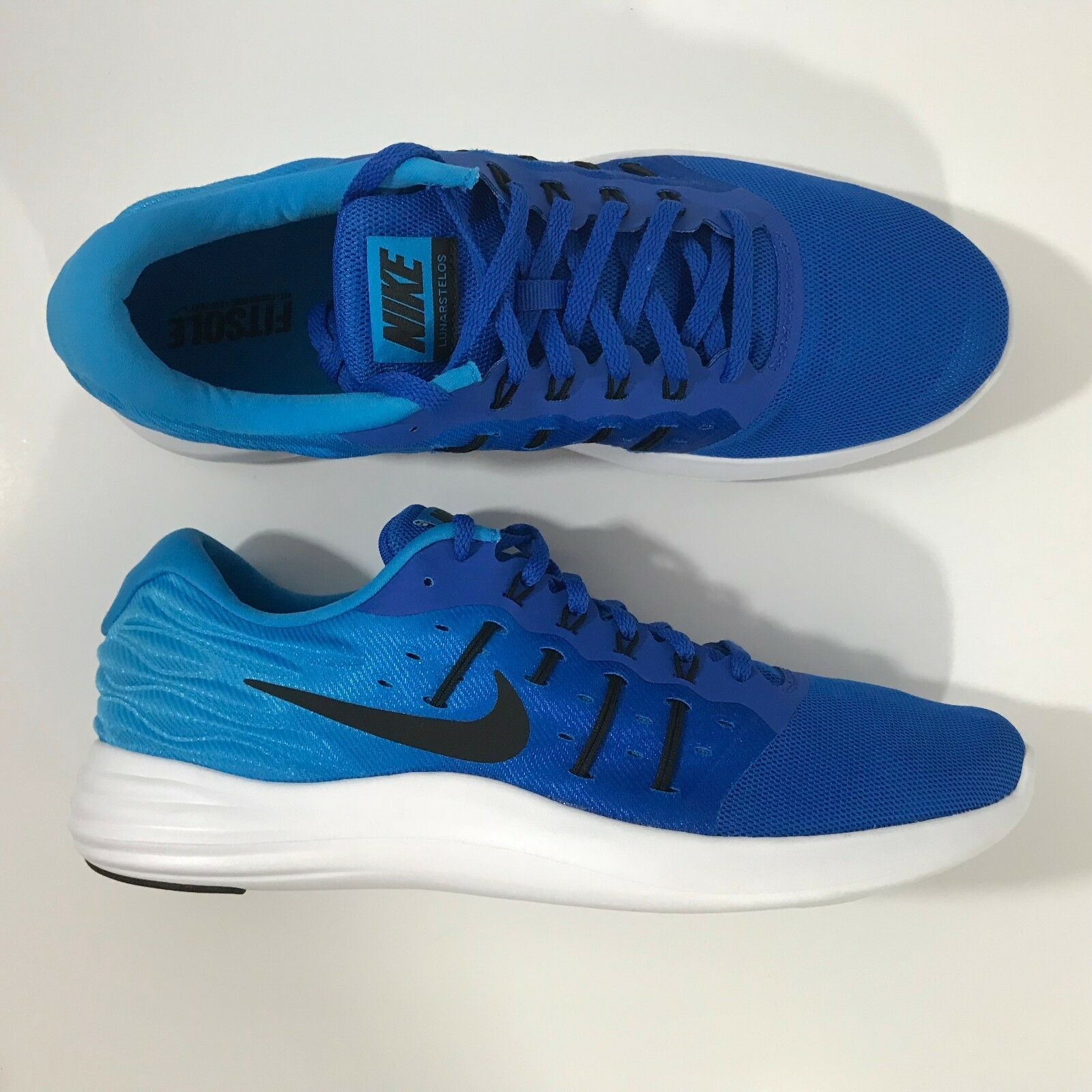 Nike Lunarstelos 844591-400 Running Hyper Cobalt Black bluee White Size 11.5 Men