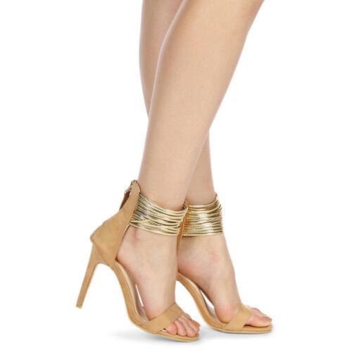 Da Donna L Donna Tacco Alto Punta Aperta Barely There Scarpe Cinturino alla Caviglia TG UK
