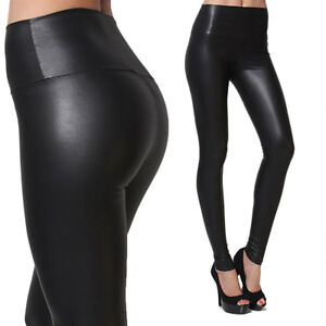 9755990c2d4 Plus Size Womens High Waist Black Faux Leather Skinny Leggings ...