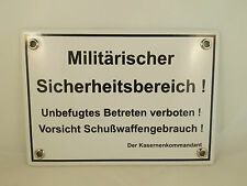 """Emailleschild groß """"Militärischer Sicherheitsbereich!"""" Kaserne Kommandant NEU"""