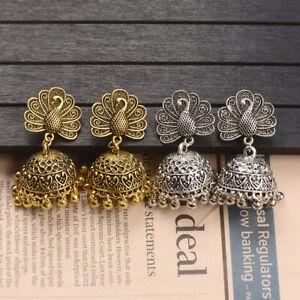 Gold-Silver-Tassel-Peacock-Gypsy-Jhumka-Tassel-Wedding-Indian-Women-039-s-Earrings