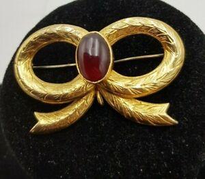 Reloj de bolsillo Vintage 9k caracteriza Oro Granate pattered Bow broche con soporte de