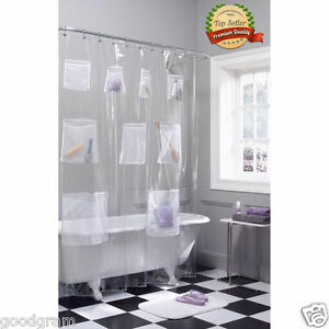 Image Is Loading PEVA Vinyl Shower Curtain Liner With Mesh Pockets