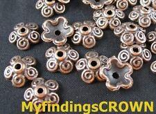 150 pcs Antiqued copper spiral flower bead caps FC202