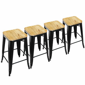 Peachy Details About 4Pcs Metal 26 Bar Stool High Counter Top Barstool Wooden Cushion Seat Black Pabps2019 Chair Design Images Pabps2019Com