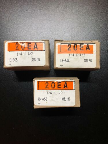Dowel Pins 1//4 x 1//2 Alloy Steel Box Of 20 Each USA Made