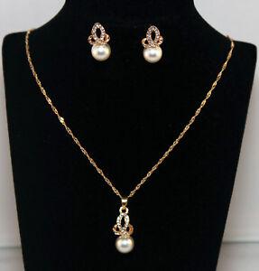 Details zu 2 teiliges Schmuckset Damen Ohrringe, Kette Perle Gold NEU