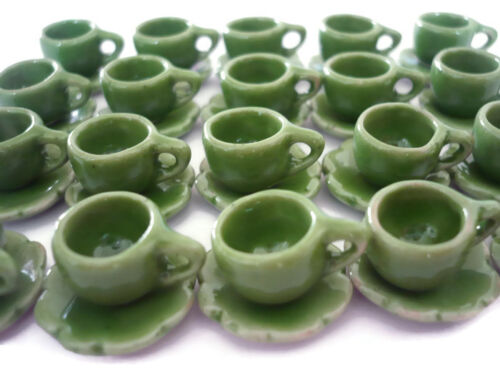 GREEN 20 Coffee Cup and 20 Scalloped Plates Dollhouse Miniatures Ceramic Food