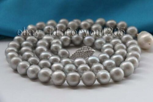 """35/"""" Natural 12mm gray Round Pearl Necklace Reborn pearl pendant #f2384"""