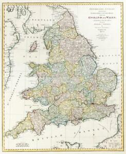 Map Of England Roads.Details About 1775 Large Original Antique Map England Wales By Thomas Jefferys Roads Lm7