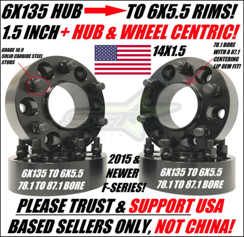 6x135 To 6x5.5 Wheel Adapters Use Chevy GMC Rims on 2015 Ford Trucks Hubcentric