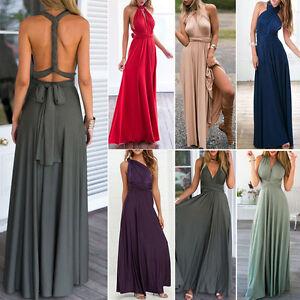 8f3e9505a71 Women Long Maxi Dress Convertible Multi Way Wrap Bridesmaid Formal ...
