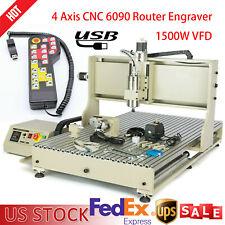 Usb 4 Axis Engraver Machine Cnc 6090t Router 1500w 3d Milling Drillinghandwheel