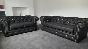 Details about Black Leather Chesterfield Sofa with Diamond Studs - Free  Delivery !!! -