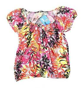 M-amp-Co-Womens-Size-14-Floral-Cotton-Multi-Coloured-Summer-Top-Regular