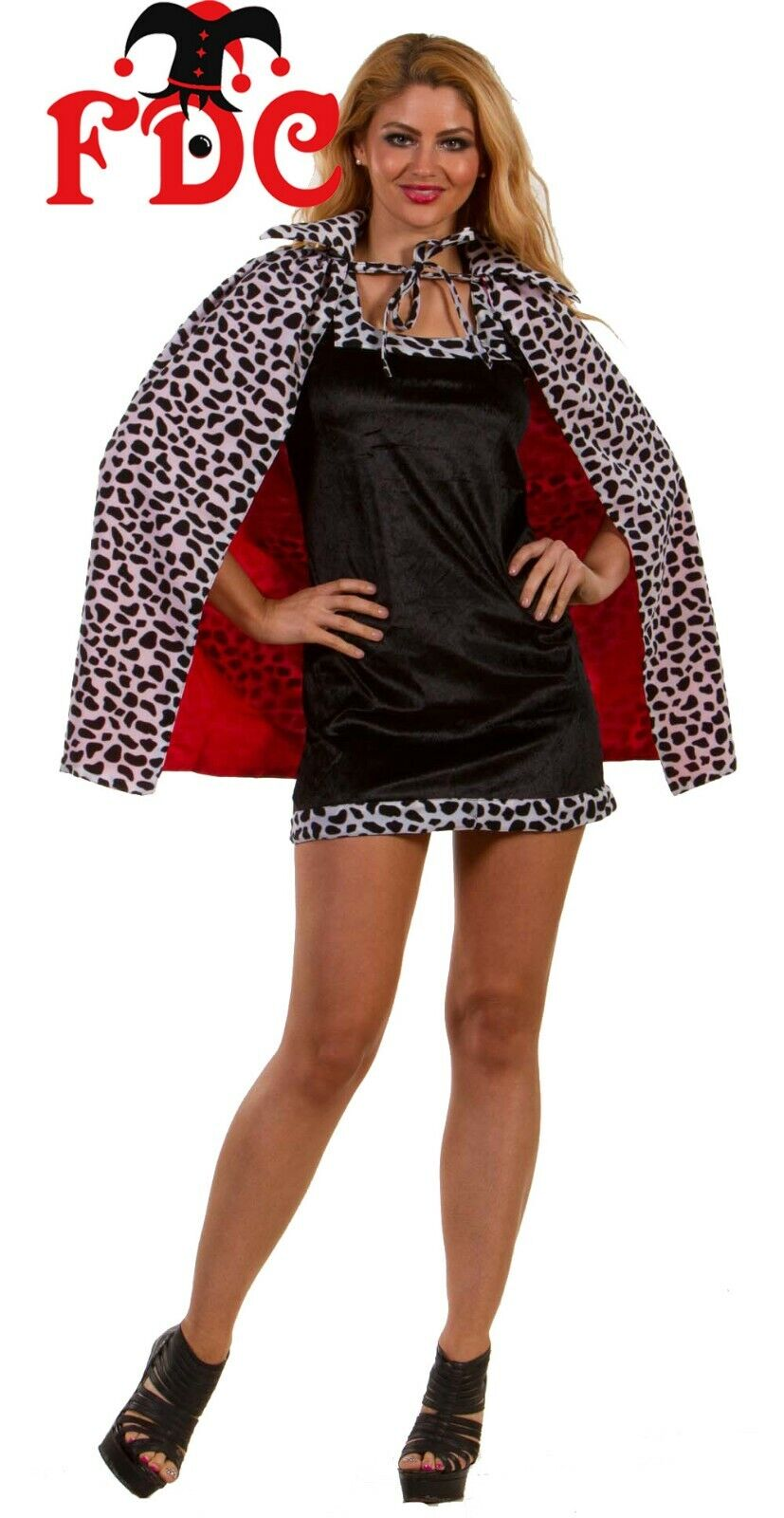 "Cruella Deville Cruella De Vil Cloak with Collar Cape Dalmatian Print Short 27/"""
