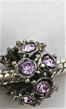 BEAUTIFUL Antique Silver Lilac Rhinestone Jewelled Charm Bead for Bracelet