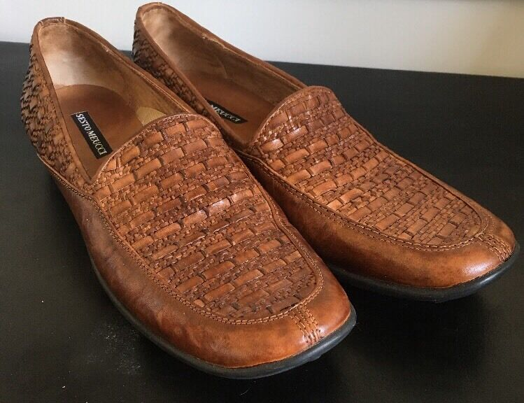 Sesto Meucci Brown Leather Loafers Flats Size 8.5 Narrow AA N Slip-ons
