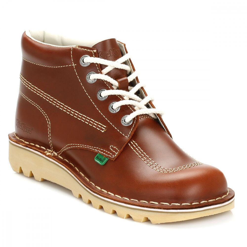 Kickers Para Hombre De Cuero Tostado Kick Hi botas Tamaños Reino Unido [6.5-11]