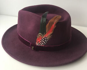 Ladies JOULES Fedora 100% wool Hat - Oxblood - feather detail - BNWT - Large