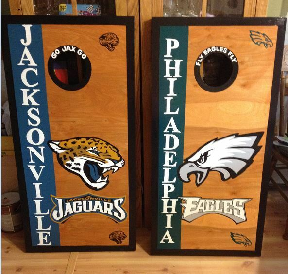 Philadelphia Eagles Jaguars Stained Cornhole with free bags