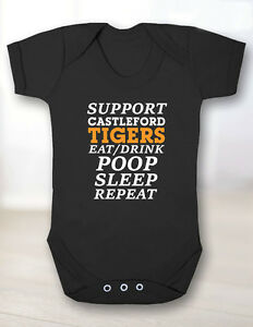 Castleford Tigers Baby Grow Cas Tigers Supporter Funny Black Orange White Rugby
