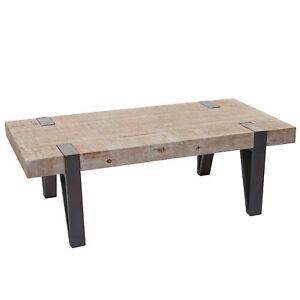 Couchtisch Beistelltisch Wohnzimmertisch Metall Holz Rustikal Massiv