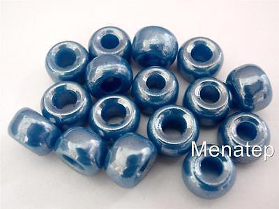 Dark Blue Luster 12 5 x 9mm Czech Glass Roller//Crow Beads