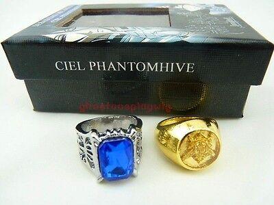 Black butler Kuroshitsuji Ciel Phantomhive Cosplay 2 Ring Set New Free Shipping