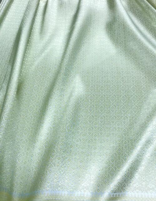 FATIGUE GREEN THAI FAUX SILK DAMASK FABRIC WEDDING DRESS SKIRT TABLECLOTH BLOUSE