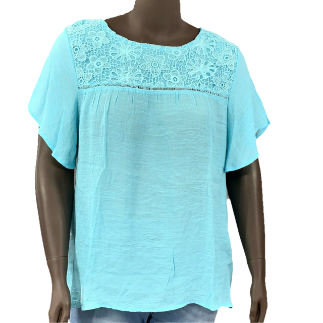 New! AVENUE 22/24 mint blouse bell sleeve scoop neck lace embellishment