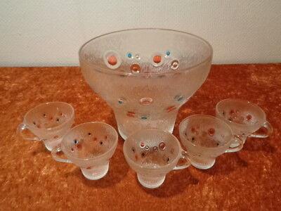 Gutherzig 6 Tlg. Glas Bowle Set - Um 1970 - Space Age - Vintage - Bubbles Eine Hohe Bewunderung Gewinnen