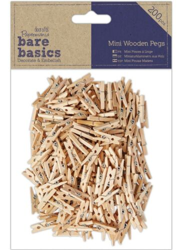 DOCRAFTS papermania Bare Basics pk200 Adorno De Madera Craft Mini Clavijas de madera