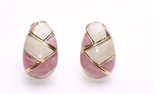 ZX46 FABERGE EGG INSPIRED GOLD METAL WITH PINK /& CREAM LACQUER CLIP ON EARRINGS