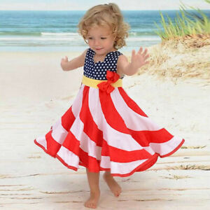 Toddler-Baby-Girl-Summer-4th-of-July-Stars-and-Dot-Print-Patriotic-Dress-Clothes