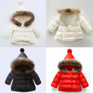 f3431683dc1d Toddler Baby Boy Girl Winter Down Jacket Coat Hooded Hoodie Outwear ...