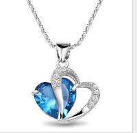 Attractiv Design Silber Damen Herz Form Halskette Blau Schmuck Anhänger Elegant