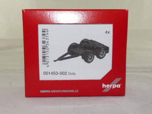 sobre Lang 4 unidades - negro nuevo embalaje original Herpa 051453-002 dolly para hängerzug