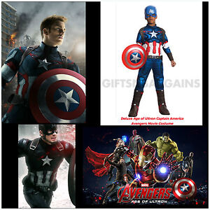 Captain-America-Avengers-Boys-Superhero-Muscle-Costume-S-M-L-Child-Dlx-Free-Gift