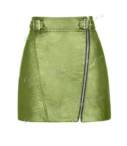 Luxury Genuine Leather Lady Mini Skirt With Full Front Zip Office Club Skirt S23