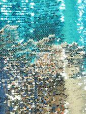 MERMAID PEARL SEQUIN SPANDEX FABRIC - Shiny Aqua/Shiny Silver - REVERSIBLE