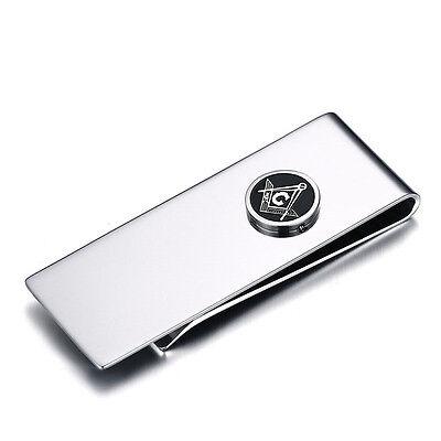 Men's Business Wallet Gift Stainless Steel Masonic Money Clip Credit Card Holder