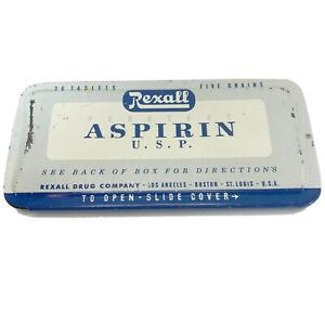 Vintage-Rexall-Aspirin-U-S-P-Medicine-Collector-Tin