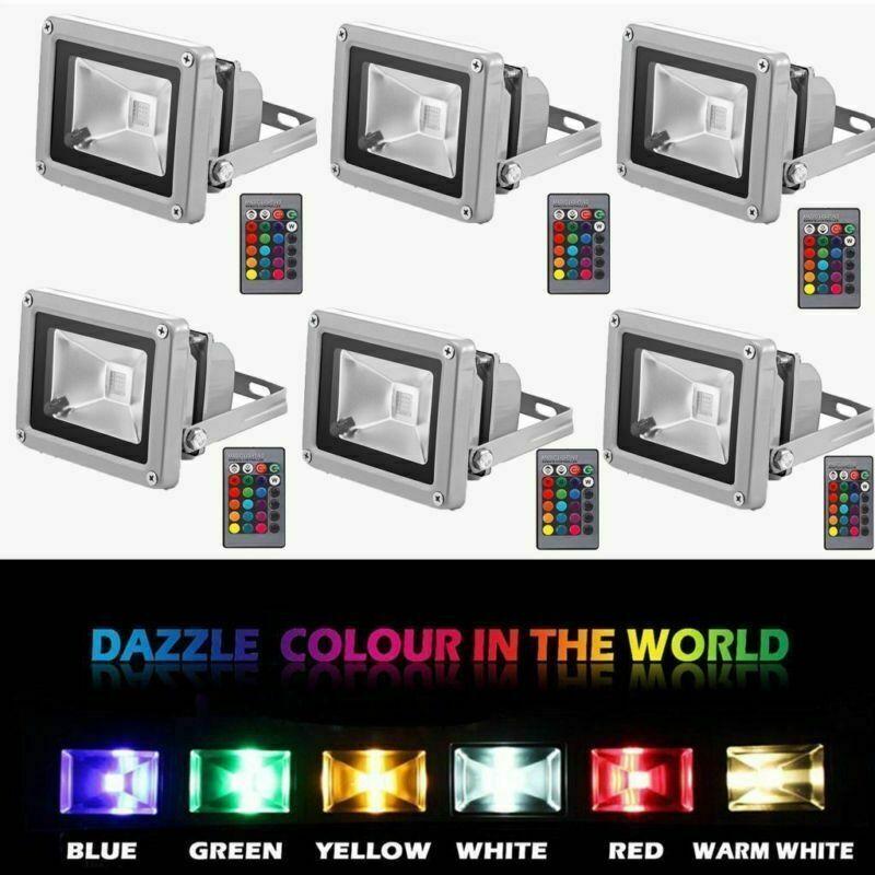 10X RGB LED Fluter Außen Strahler Flutlicht Scheinwerfer Floodlight Lampe IP65