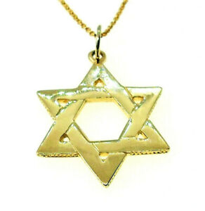 Solid 9ct Yellow /& White Gold Star of Saint David St Pendant Unique Gift Boxed
