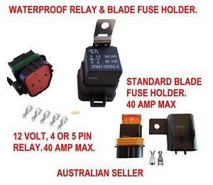 RELAY FUSE WATERPROOF BLADE HOLDER 12 V 40 AMP AUTOMOTIVE MARINE
