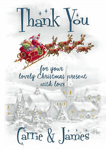 Personalised Kids Childrens Vintage Christmas Thank You Cards Packs